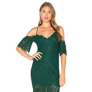 Green Lace Cold Shoulder Dress